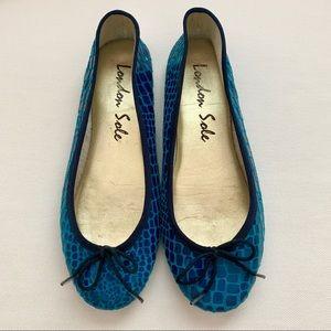 London Sole Blue Snakeskin Ballet Flats